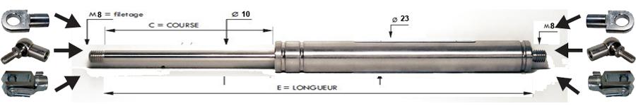 Tige 8 mm - Course 60 à 250 mm - Force 40 à 800 N