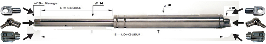 Tige 14 mm - Course 50 à 700 mm - Force 250 à 2100 N