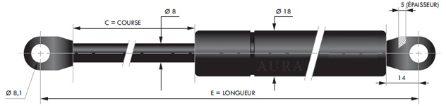 Tige 8 mm - Course de 40 à 250 mm - Force 40 à 800 N
