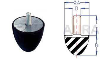 Butée progressive - Silent bloc série TP-1 - Pour charge en compression de 40 à 50 Kgs