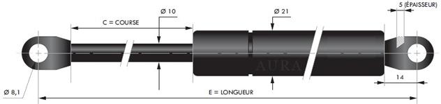 Tige 10 mm - Course 100 à 400 mm - Force 50 à 1150 N