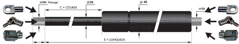 Tige 20 mm - Course 50 à 800 mm - Force 300 à 5000 N