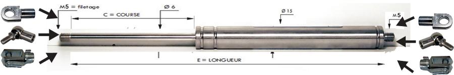 Tige 6 mm - Course 50 à 300 mm - Force 30 à 400 N