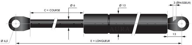 Tige 6 mm - Course 20 à 150 mm - Force 30 à 400 N